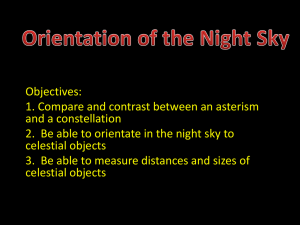 Orientation of the Night Sky