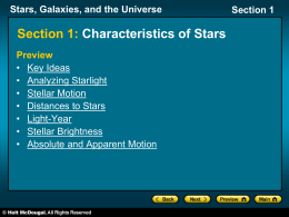 Stars, Galaxies, and the Universe Section 1 Section 1