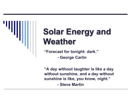 Solar Energy and Weather
