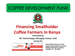 Financing The Coffee Sub-Sector In Kenya