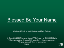 Blessed Be Your Name - MISSION UNDER GRACE CHURCH