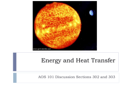 Energy and Heat Transfer - Atmospheric and Oceanic Sciences