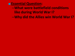 Why did the Allies win World War I?