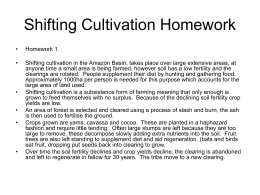 Shifting Cultivation Homework