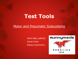Test Tools For Motor and Pneumatic Subsystems