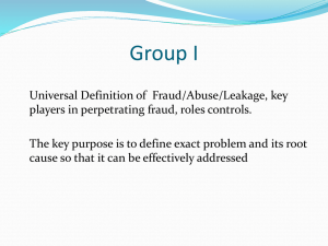 Defining fraud and abuse - Workshop Group 1 presentation