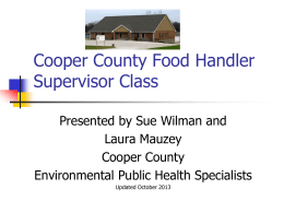 Supervisor - Cooper County Public Health Center