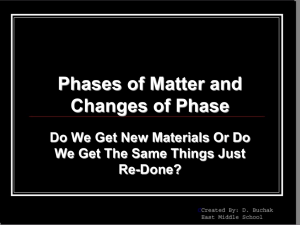 Unit 4 (1) - Phases of Matter and Changes of State