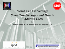 What Can Go Wrong: Some Trouble Signs