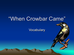 When Crowbar Came Vocabulary