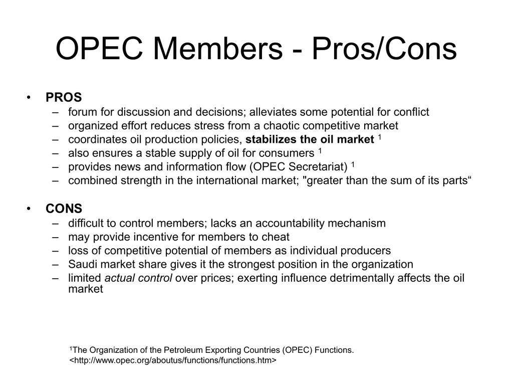 shortcomings of opec