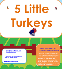 free-5-little-turkeys song on a Power Point