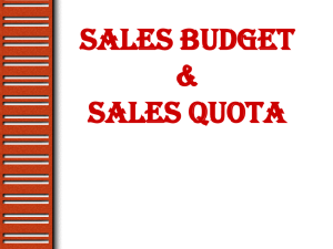 Sales Budget and Sales Quota