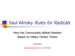 Power Point Saul Alinsky Rules for Radicals