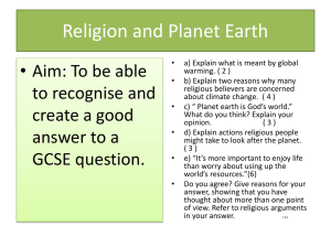 Religion and Planet Earth GCSE Question