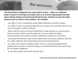 Creation Care - reflection and intercession