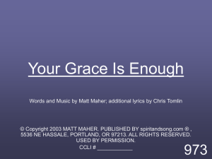 Your Grace Is Enough - MISSION UNDER GRACE CHURCH