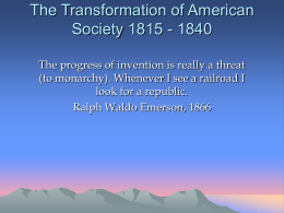The Transformation of American Society 1815