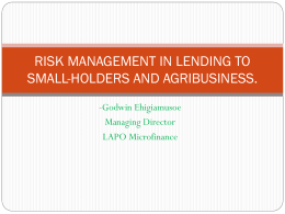 Risk management in lending to smallholders and the