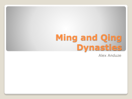 Ming and Qing Dynasties