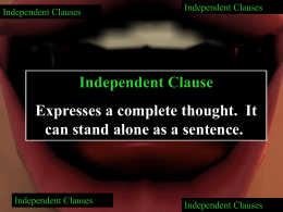 Independent Clauses