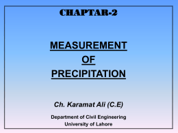 PRECIPITATION AND ITS MEASUREMENT