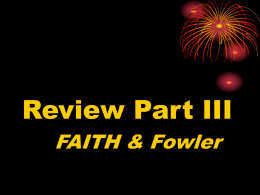 Fowler`s Stages of Faith Development