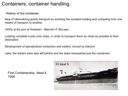 1. Classification of the transported goods
