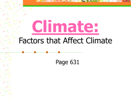 Climate: Factors that Affect Climate