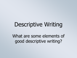 Elements of Descriptive Writing
