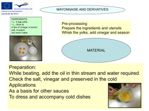 Mayonnaise and derivatives - IES