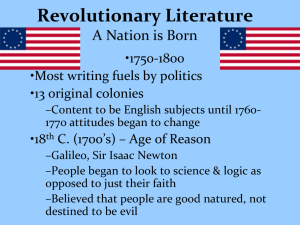 Revolutionary Literature A Nation is Born