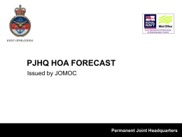 PJHQ Operational Areas Forecast