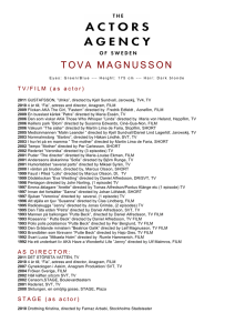 tova magnusson cv - Actors Agency Sweden