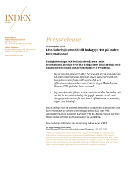 Pressrelease Index Lisa Sabelsjö 19dec2014