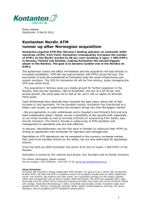 Kontanten Nordic ATM runner up after Norwegian acquisition