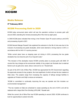 Media Release KCGM Processing Gold to 2029