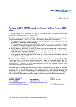 Revision to 2014 EBITDA target, reinforcement of the Perform 2020