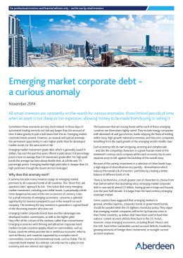 Emerging market corporate debt - a curious anomaly
