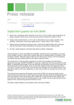 Stable first quarter for KAS BANK