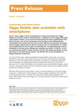 Ziggo Mobile also available with smartphone