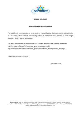 PRESS RELEASE Internal Dealing Announcement Parmalat S.p.A.