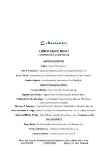 LUNCH VALUE Menu €25 November
