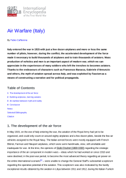 Air Warfare (Italy) - 1914-1918-Online. International Encyclopedia of