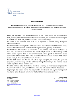 PRESS RELEASE Rome, 29 July 2014. The Board of