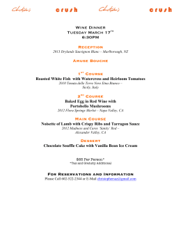 Wine Dinner Tuesday March 17th 6:30PM Reception Amuse