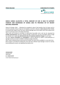 press release comunicato stampa banca carige allocates a total