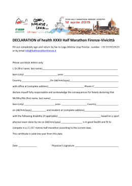 DECLARATION of health XXXII Half Marathon Firenze