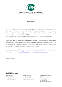PRESS RELEASE On the 17th of April 2014, the