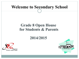 Grade 8 Parent Information Night 2014 Presentation